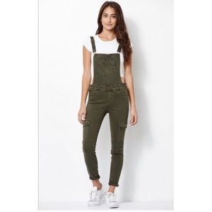 Kendall + Kylie Utility Overalls Olive Green Cargo